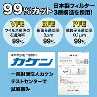 日本製国産サージカルマスクXINSシンズ耳が痛くない耳らくリラマスクVFEBFEPFE3層フィルター不織布使い捨て100枚入り普通サイズ-画像5