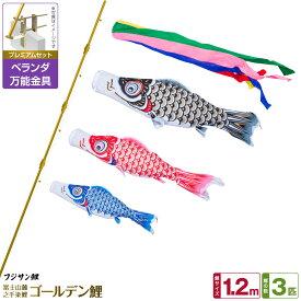 ベランダ用 こいのぼり 鯉のぼり フジサン鯉 ゴールデン鯉 1.2m 6点(吹流し+鯉3匹+矢車+ロープ)/プレミアムセット(万能取付金具)