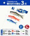 ベランダ用鯉のぼり神鳴鯉-KAMUI-1.2m6点(吹流し+鯉3匹+矢車+ロープ)/スタンダードセット(万能取付金具)