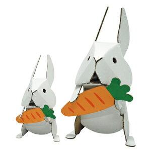 ハコモ うさぎファミリー 白 ダンボール おもちゃ 知育玩具 模型 インテリアホビー 趣味 コレクション