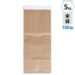 米袋 5kg用 テープ式クラフト 無地 100枚セット KHT-811 窓なし