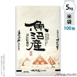 米袋 雲龍和紙 フレブレス 魚沼産コシヒカリ 産地厳選 5kg 100枚セット MK-0120