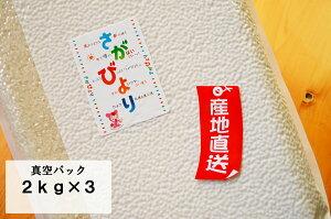 【真空パック 2kg×3】【令和元年産 特A】佐賀県産 さがびより 【送料無料  一部地域除く】【米 お米】