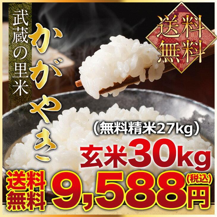 武蔵の里米 かがやき 玄米30kg(精米無料)(農家直米)(送料無料 但し北海道 九州 四国 沖縄を除く)