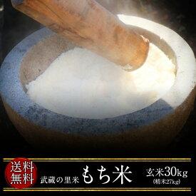 武蔵の里米 もち米 玄米30kg(精米無料)(農家直米)(送料無料 但し北海道 中国 九州 四国 沖縄 離島を除く)