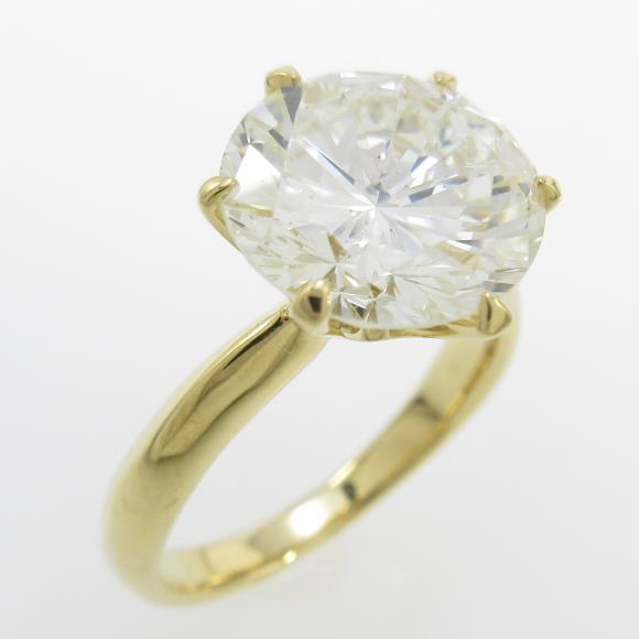 【リメイク】K18YG ダイヤモンドリング 3.826ct・L・SI2・GOOD【中古】