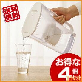 【送料無料】【4個セット】ポット型浄水器PJ-2ホワイト【アイリスオーヤマ】(水・洗浄・洗浄機・浄水器)
