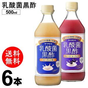 乳酸菌黒酢 500ml×6本 ヨーグルト味 ブルーベリーヨーグルト味 酢 黒酢 お酢 飲用酢 乳酸菌 菌活 3倍希釈 まとめ買い