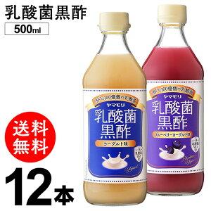乳酸菌黒酢 500ml×12本 ヨーグルト味 ブルーベリーヨーグルト味酢 黒酢 お酢 飲用酢 乳酸菌 菌活 3倍希釈 まとめ買い