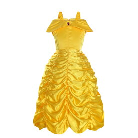 美女と野獣 ベル 衣装 ゴールド プリンセス ドレス 豪華 コスプレ コスチューム 仮装 子ども お姫様 ワンピース ハロウィン クリスマス