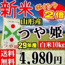 新米 山形県産 つや姫 29年産 10kg(5kgX2個)【正規取扱店】【特別栽培米】【特A/1等米】【送料無料】『レビュー』がイ…