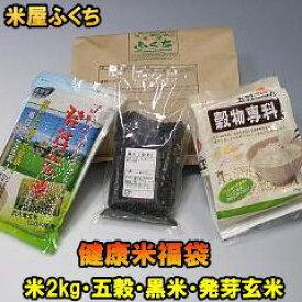 米 【送料無料】 健康米福袋 特A米ひとめぼれ2kg 発芽玄米 五穀米 黒米 4点セット 詰め合わせ お中元 贈り物 ギフトにも