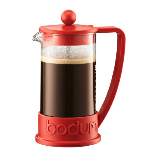 【お試し コーヒー豆付】ボダムフレンチプレス ブラジルシリーズ レッド RD 350ml 1-2人用 初心者におすすめコーヒーメーカー プレス式 コーヒー器具 Bodum 10948-294【コンビニ受取対応商品】