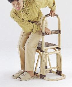 \300円引きクーポン進呈/籐 ステッキチェアー Y31送料無料 立ち上がりが断然ラクちん♪ Y31 ステッキ機能付き籐椅子軽量らくらく移動いす一人掛け1p籐製座椅子籐家具北欧ラタンチェアシル