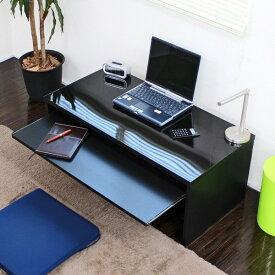 【ランキング受賞】デスク スライドテーブル付 90cm幅 ローデスク 日本製 デスク パソコンデスク光沢 ツヤがありきれいな仕上がりです!日本製です♪ FM107N-BK パソコンデスク 机 学習机 デスク PCデスク PC台 机 つくえ コンパクト オシャレ デスク 幅90 サイド