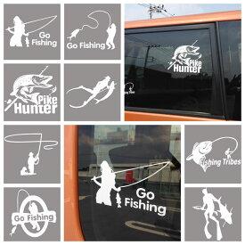 カー ステッカー 釣り フィッシング さかな 車 バイク デカール 張り方 説明書 防水 シルエット かっこいい かわいい 面白い シール 【白系】