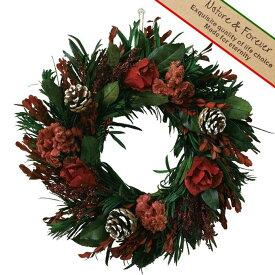 リース 36x37cm プリザーブドリース ワインレッド 玄関飾り 壁掛け ドア エントランス プリザーブド プリザ クリスマス CHRISTMAS XMAS 飾り 装飾 インテリア スパイス BDXH3860