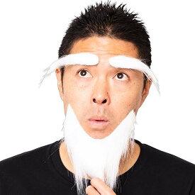 宴会の達人 科学者の眉毛とひげ 白 付け髭 ひげ ヒゲ 髭 宴会 パーティー イベント コスプレグッズ パーティーグッズ クリアストーン 4560320891710