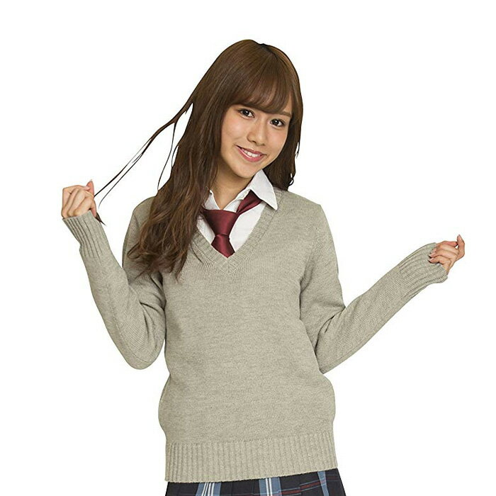 【あす楽 送料無料】TEENS EVER 17AW Vネックセーター 全4色 M・Lサイズ スクールセーター 長袖 女子 制服 無地 高校生 JK クリアストーン CR-033