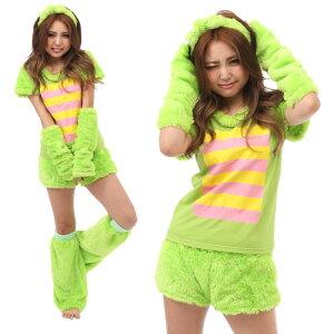 ガチャピンなりきり5点セットグリーンポンキッキレディースサイズコスチュームコスプレ衣装仮装変装サザックING-023