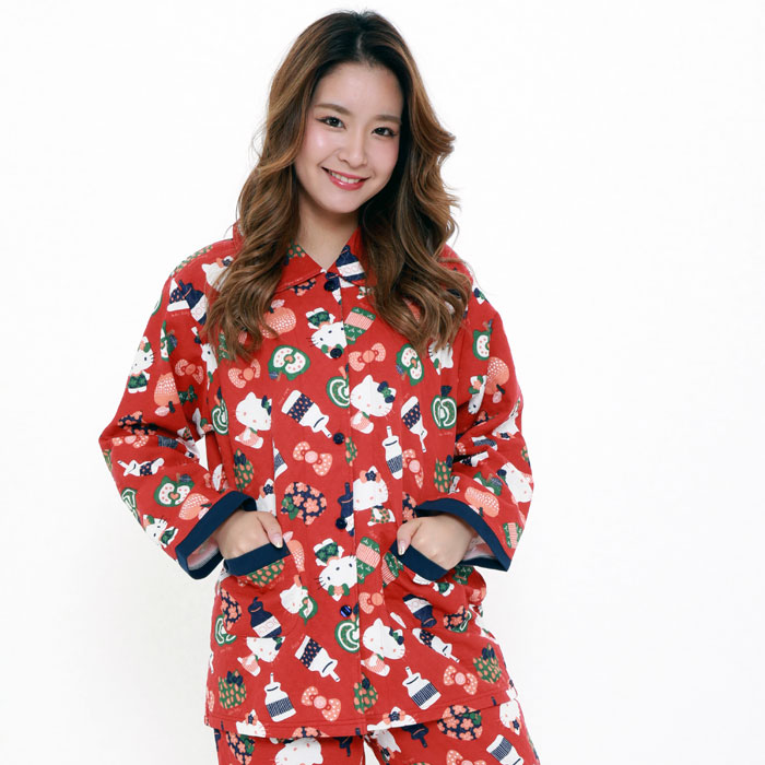北欧キティ ニットキルトシャツパジャマ 全3色 M・Lサイズ ハローキティ パジャマ 長袖 前開き ルームウェア サザック SAZAC−037