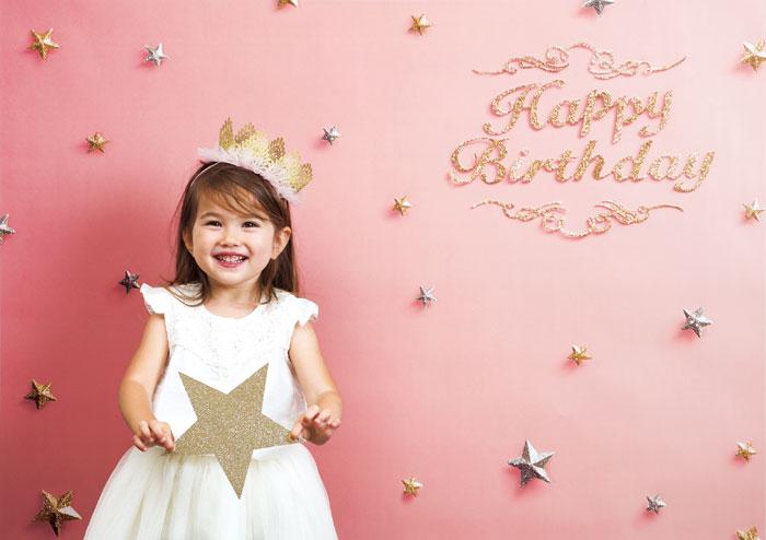 イエスタ Happy Birthday ピンクゴールド フォトポスター インスタ ポスター 壁紙 背景 記念 写真 撮影 クリアストーン CSSET-01