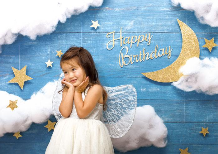 イエスタ Happy Birthday ナイトスカイ フォトポスター インスタ ポスター 壁紙 背景 記念 写真 撮影 クリアストーン CSSET-05