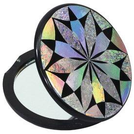 らでん彫コンパクトミラー 黒 鏡 手鏡 オリジナル 作成 彫刻 美術 ギフト プレゼント 贈り物 アーテック 13735