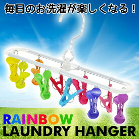 【あす楽】SUNNY RAINBOW ランドリーハンガー 10ピンチ 洗濯 ランドリー 物干しハンガー ピンチハンガー 洗濯ハンガー カラフル レインボー オシャレ 現代百貨 A280RA