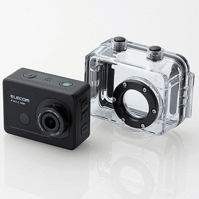 アクションカメラ(Full HD) 動画を確認しながら撮影できる液晶パネル付き 臨場感あふれる動画が撮影できるフルHD画質対応のアクションカメラ ハウジングケース/ベースメントセット エレコム ACAM-F01SBK