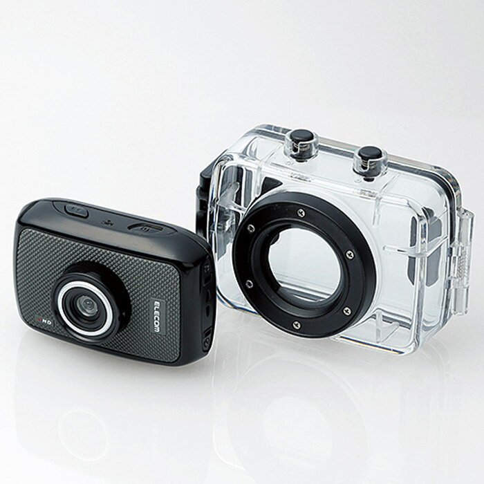 アクションカメラ(HD) 動画を確認しながら撮影できる液晶パネル付き 臨場感あふれる動画が撮影できるHD画質対応のアクションカメラ ハウジングケース/ベースメントセット エレコム ACAM-H01SBK