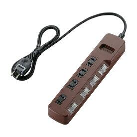 雷ガードに加え、接続した機器の電源を個別にオン/オフできる「個別スイッチ」付 雷ガードタップ 1m 2P式4個口 エレコム T-BR02-2410BR