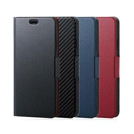 iPhone XS Max アイフォン テンエス マックス 6.5インチ ケース カバー 手帳型 ソフトレザーカバー 薄型 磁石付 ブラック エレコム PM-A18DPLFUBK