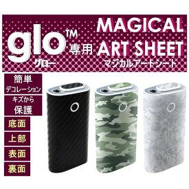 加熱式タバコ glo グロー 用 デコレーション シール アートシート 8カラーデザイン(カーボン調:ブラック ・シルバー・レッド・ブルー/迷彩調:グリーン・ネイビー/ウッド調:ブラック・ホワイト) ハセ・プロ MSG