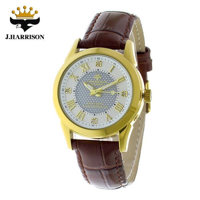 腕時計 電波時計 ソーラー時計 4石天然ダイヤモンド付 ソーラー電波時計 レディース 婦人用 ジョン・ハリソン いつでも正確な時間 定期的な電池交換不要