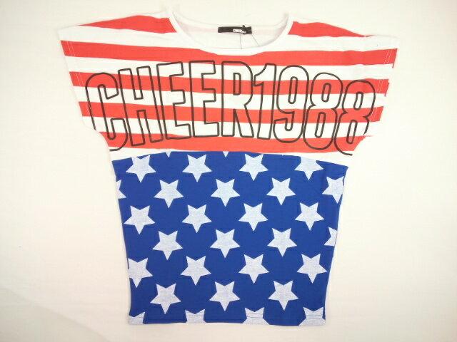 【セール】CHEER(チアー)★星条旗風ドルマンシルエット半袖Tシャツ