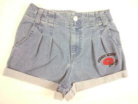 【セール】ZIDDY(ジディー)★裾折り返しデザイン&キスマーク刺繍のデニムショートパンツ