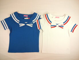 【セール】RONI(ロニィ)★BIGりぼん付きライン入り天竺セーラーカラー半袖Tシャツ
