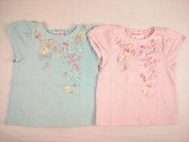 【セール】mezzopiano(メゾピアノ)★フルーツモチーフ刺繍入りヒラヒラ袖半袖Tシャツ