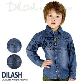 セール DILASH(ディラッシュ)秋'16★【セール】ネイティブ柄長袖デニムシャツ(80〜140)