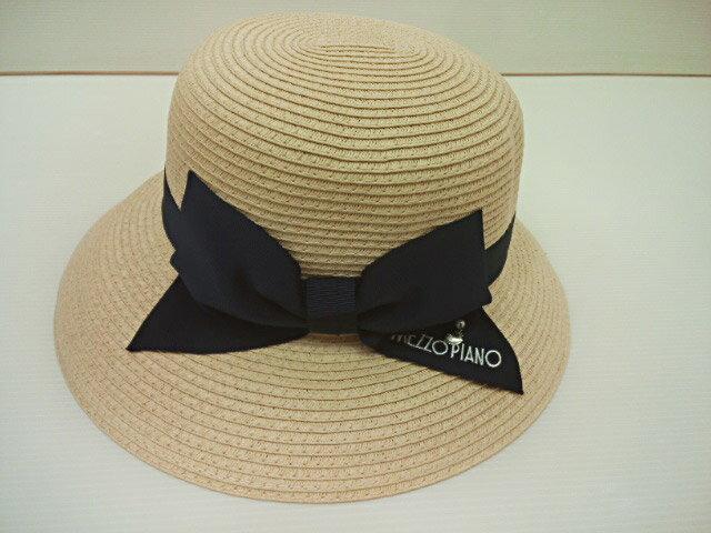 メゾピアノ mezzopiano リボンモチーフつば広ハット 帽子 ハット ジュニア