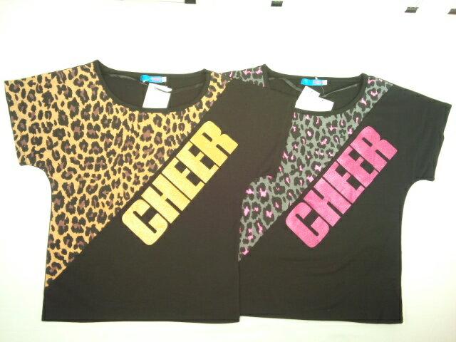 【セール】CHEER(チアー)★【完売間近!!】レオパード切り替えドルマンスリーブTシャツ
