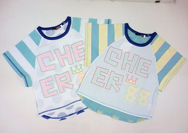 ☆セール☆CHEERJUNIOR(チアージュニア)★ドット×ストライプ切替えゆるかわTシャツ