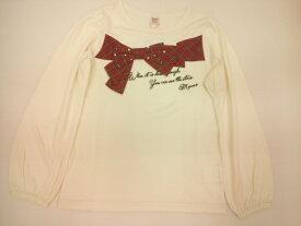 セール mezzopianoジュニア(メゾピアノ)立体タータンチェックりぼんモチーフ付き長袖Tシャツ