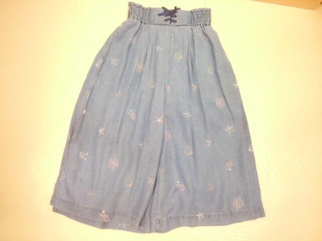 【セール】 mezzopianoジュニア(メゾピアノ)シェルモチーフ総刺繍スカーチョ