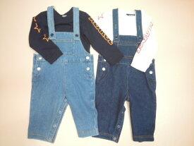 X-LARGE KIDSベビー(エクストララージキッズ)OGゴリラポイントのサロペットパンツ&長袖Tシャツのセットアップ 70cm 80cm