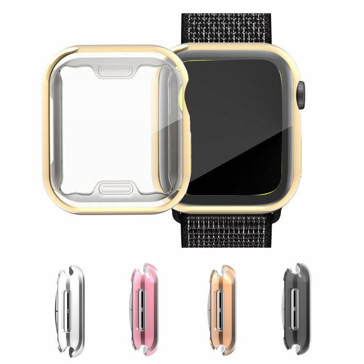 Apple Watch Series 4 ケース/カバー 液晶保護 軽量 メッキ 44mm TPU メタル調 鏡面加工 アップルウォッチ4 ソフトカバー