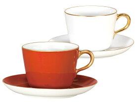 大倉陶園 日本製【大倉陶園 紅白 モーニングカップ&ソーサーペアセット 26CR/1700】洋食器 陶磁器 コーヒー 紅茶 ギフト 贈り物 贈答品 引出物 内祝い お祝い