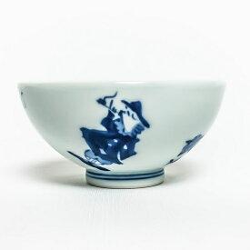 有田焼 青花子供食器【青花 異人づくし 3.2寸丸飯碗 S-09-811】ミニ茶碗 子供茶碗 ダイエット茶碗