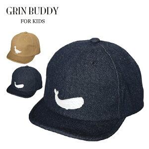 【メール便送料無料】Raw Twill Cap(GRIN BUDDY)キッズ 子供 女の子 男の子 子ども 春 夏 秋 かわいい 帽子 キャップ 恐竜 アヒル くじら つば短め ギフト プレゼント サイズ調節 デニム